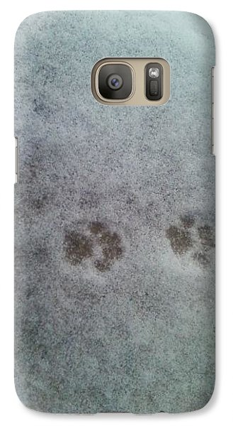 Galaxy Case featuring the photograph Cat Tracks In The Snow by Gerald Strine