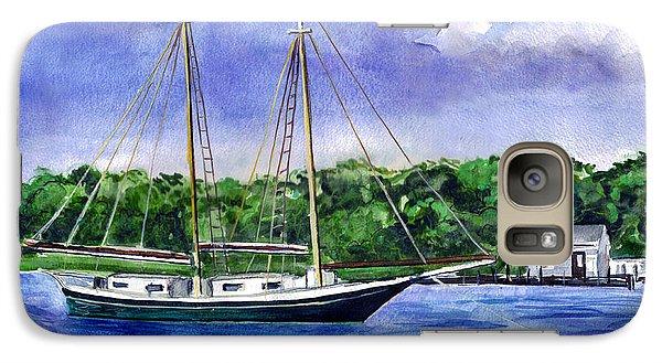 Galaxy Case featuring the painting Cedar Beach Schooner by Clara Sue Beym