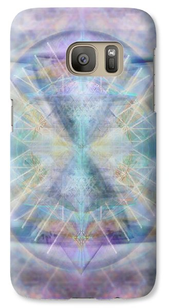 Galaxy Case featuring the digital art Chalice Of Vorticspheres Of Color Shining Forth Over Tapestry by Christopher Pringer