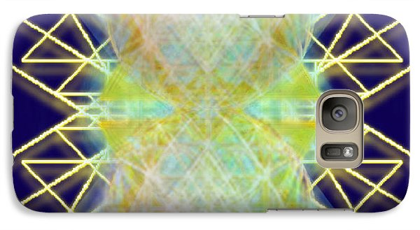 Galaxy Case featuring the digital art Chalicesphere Pirayed Matrix Gold In Blue by Christopher Pringer