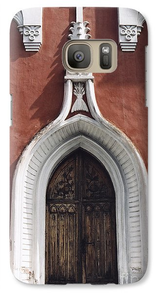 Galaxy Case featuring the photograph Chapel Entrance In White And Brick Red by Agnieszka Kubica