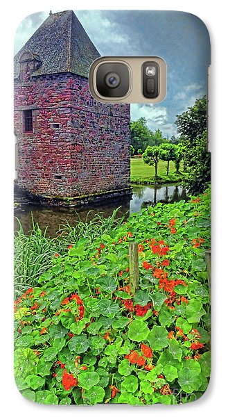 Galaxy Case featuring the photograph Chateau Tower And Nasturtiums by Dave Mills