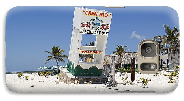 Galaxy Case featuring the photograph Chen Rio Beach Bar Cozumel Mexico by Shawn O'Brien