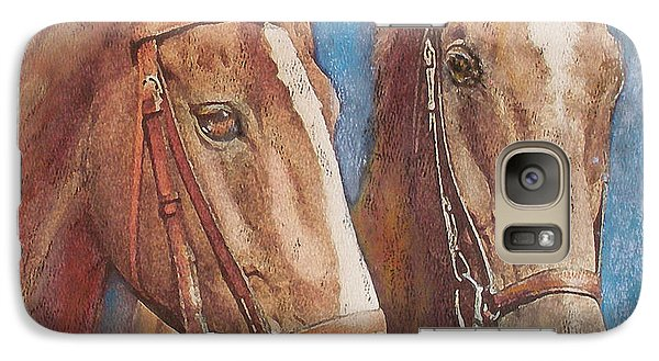 Galaxy Case featuring the painting Chestnut Pals by Richard James Digance
