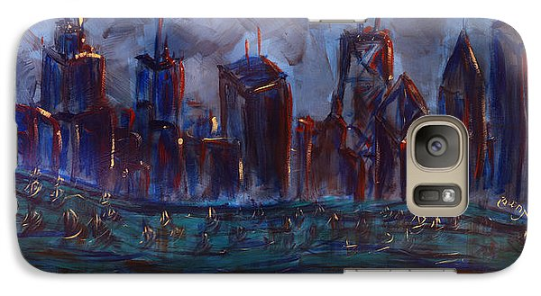 Galaxy Case featuring the painting Chicago Night Skyline With Lake Sail Boats On Water Buildings And Architecture In Blue Orange Green  by M Zimmerman MendyZ