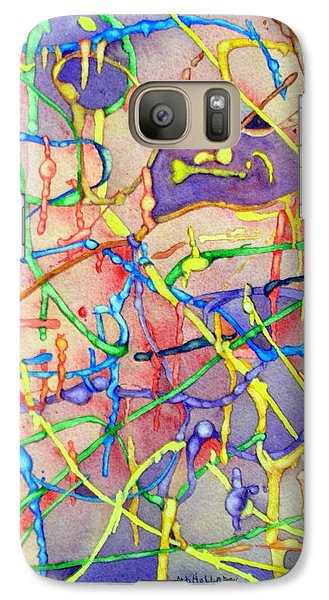 Galaxy Case featuring the painting Circuitry In Color by Mary Kay Holladay