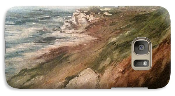 Galaxy Case featuring the painting Cliff Side - Newport by Karen  Ferrand Carroll
