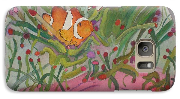 Galaxy Case featuring the mixed media Clownfish Seen Through A Lense by Joy Braverman