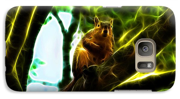 Galaxy Case featuring the digital art Come On Up - Fractal - Robbie The Squirrel by James Ahn