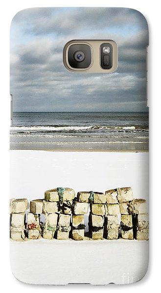 Galaxy Case featuring the photograph Concrete Bricks On A Snowy Beach by Agnieszka Kubica