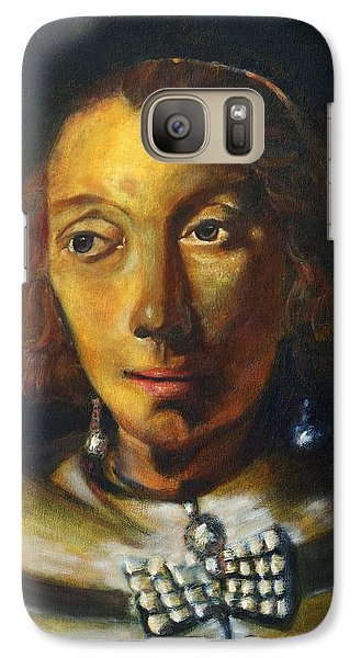 Galaxy Case featuring the painting Copy Of Rembrandt Portrait Of A Lady With Ostrich Feather Fan by MendyZ M Zimmerman