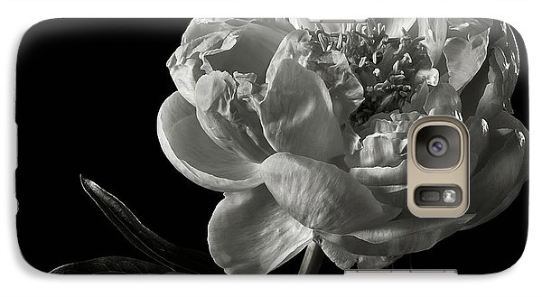 Galaxy Case featuring the photograph Coral Peony In Black And White by Endre Balogh