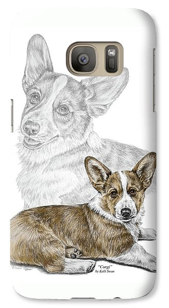 Galaxy Case featuring the drawing Corgi Dog Art Print Color Tinted by Kelli Swan