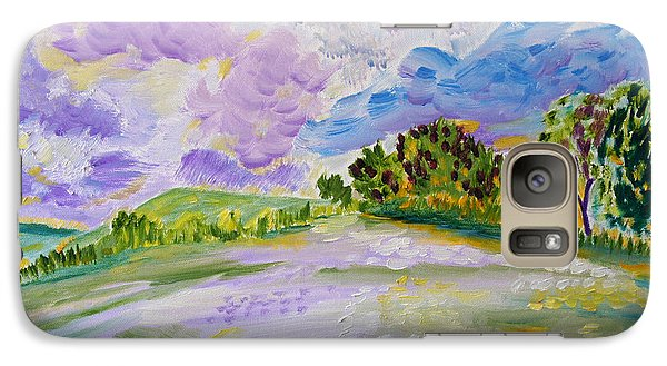 Galaxy Case featuring the painting Cotton Candy Clouds by Meryl Goudey