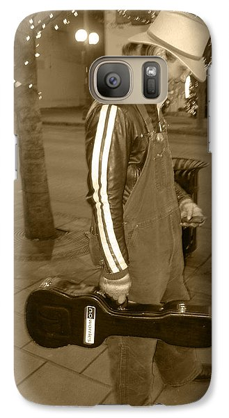 Galaxy Case featuring the photograph Cowboy Musician On Streets by Kym Backland
