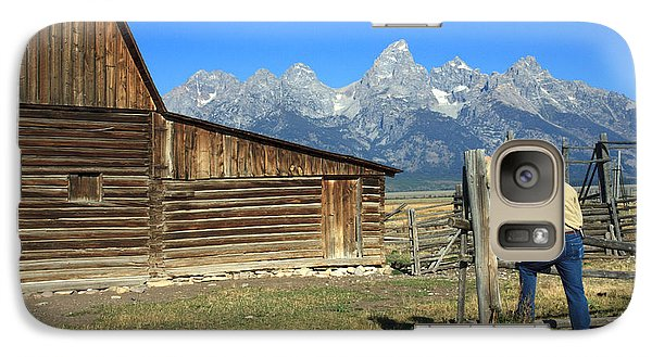 Galaxy Case featuring the photograph Cowboy With Grand Tetons Vista by Karen Lee Ensley