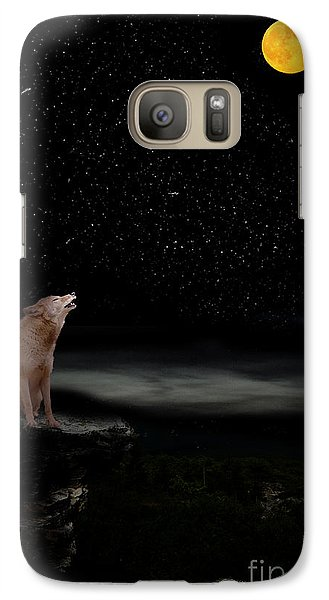 Galaxy Case featuring the photograph Coyote Howling At Moon by Dan Friend