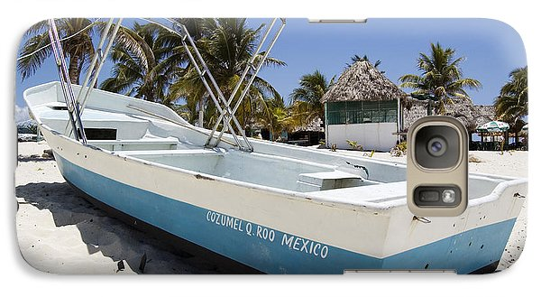 Galaxy Case featuring the photograph Cozumel Mexico Fishing Boat by Shawn O'Brien