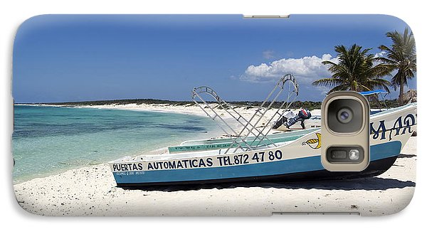 Galaxy Case featuring the photograph Cozumel Mexico Fishing Boats On White Sand Beach by Shawn O'Brien