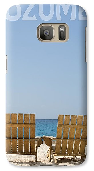 Galaxy Case featuring the photograph Cozumel Mexico Poster Design Beach Chairs And Blue Skies by Shawn O'Brien
