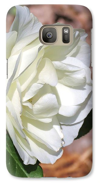 Galaxy Case featuring the photograph Cream White Rose  by Rebecca Overton