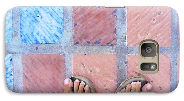 Galaxy Case featuring the photograph Cross-legged On A Colorful Sidewalk by Anne Mott