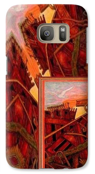 Galaxy Case featuring the mixed media Cross Nine Eleven Tangle Of Terror by Ray Tapajna