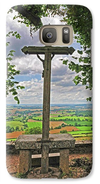 Galaxy Case featuring the photograph Crucifix Overlooking The French Countryside by Dave Mills