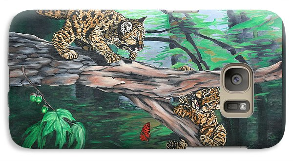 Galaxy Case featuring the painting Cubs At Play by Wendy Shoults