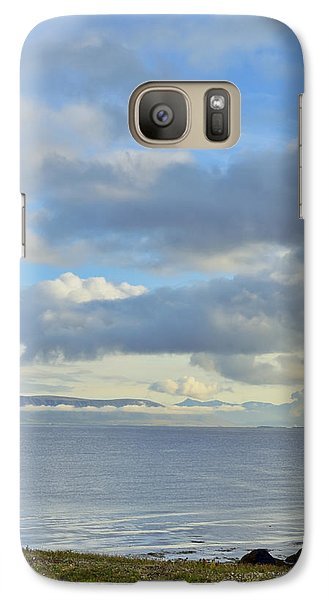 Galaxy Case featuring the photograph Cumulus Clouds Sea And Mountains Reykjavik Iceland by Marianne Campolongo