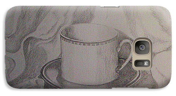 Galaxy Case featuring the drawing Cup And Saucer On Material by Roena King