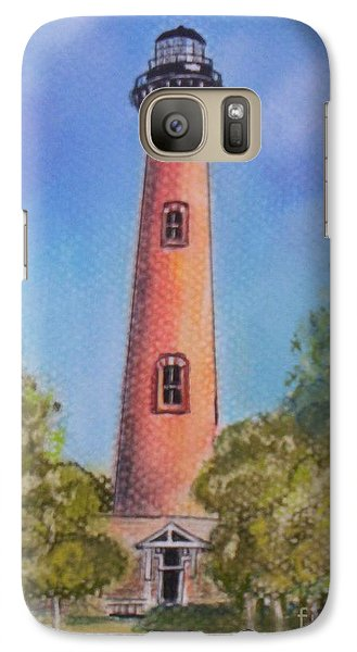 Galaxy Case featuring the pastel Currituck Lighthouse Nc by Julie Brugh Riffey