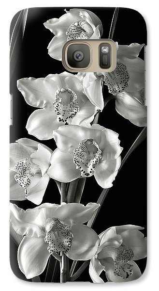 Galaxy Case featuring the photograph Cymbidium Cluster In Black And White by Endre Balogh