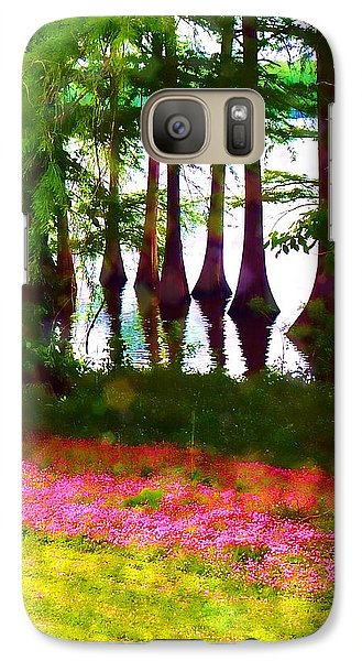 Galaxy Case featuring the photograph Cypress With Oxalis by Judi Bagwell