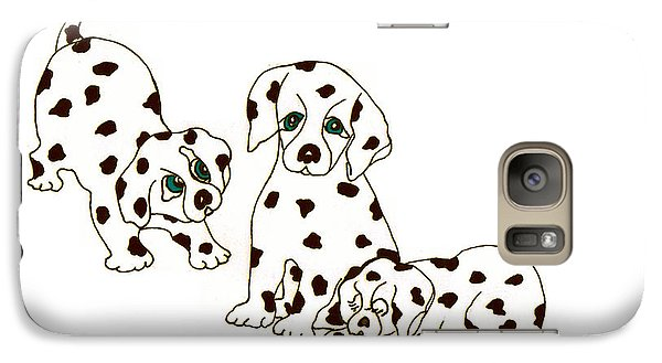 Galaxy Case featuring the drawing Dalmatian Puppies by Rachel Lowry