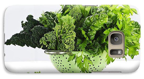 Dark Green Leafy Vegetables In Colander Galaxy Case by Elena Elisseeva