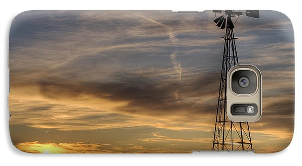 Galaxy Case featuring the photograph Dark Sunset With Windmill by Art Whitton