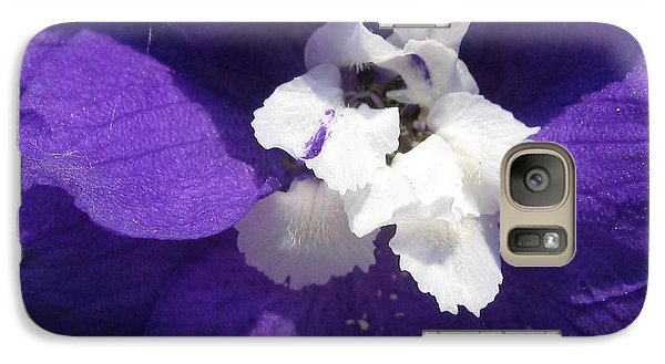 Galaxy Case featuring the photograph Delphinium Named Blue With White Bee by J McCombie
