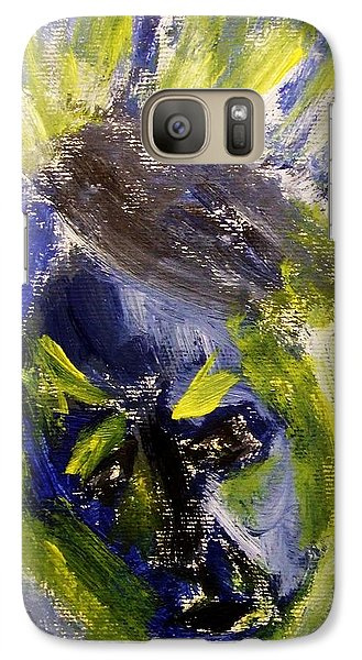 Galaxy Case featuring the painting Despondent Expressionistic Portrait Figure In Blue And Yellow Religious Symbols Of Glory Bursting by M Zimmerman MendyZ