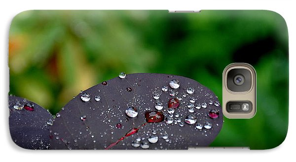 Galaxy Case featuring the photograph Dew Drops On Smoke Tree Leaves by Tanya  Searcy