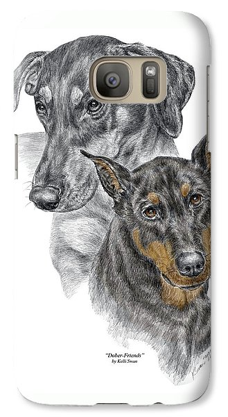 Galaxy Case featuring the drawing Dober-friends - Doberman Pinscher Portrait Color Tinted by Kelli Swan