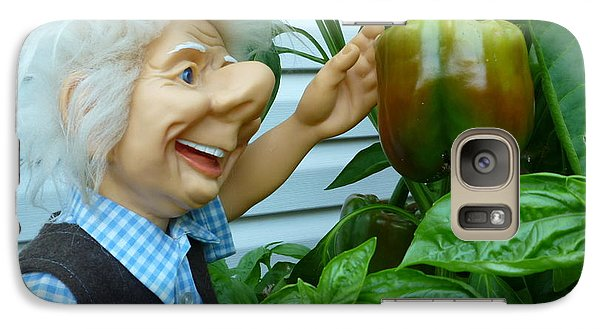 Galaxy Case featuring the photograph Dorf Grandpa Doll Picking Bell Peppers by Renee Trenholm