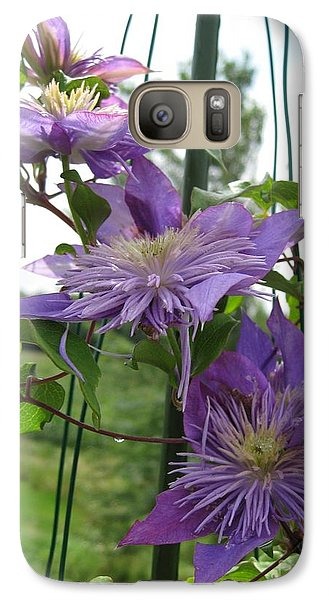 Galaxy Case featuring the photograph Double Clematis Named Crystal Fountain by J McCombie