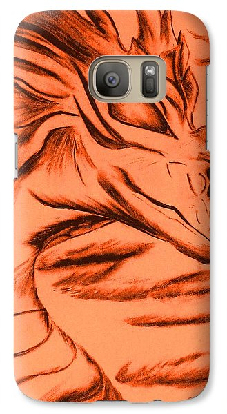 Galaxy Case featuring the drawing Dragon In Color by Maria Urso