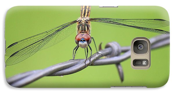 Galaxy Case featuring the photograph Dragonfly On Barbed Wire by Penny Meyers
