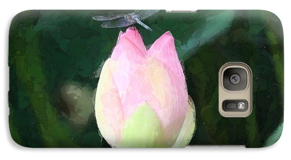 Galaxy Case featuring the photograph Dragonfly On Water Lily by Donna  Smith