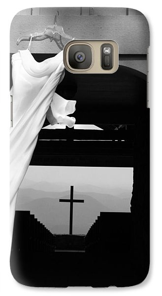 Galaxy Case featuring the photograph Dress And Cross by Kelly Hazel