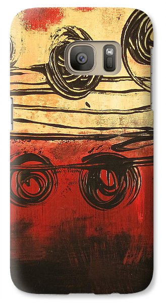 Galaxy Case featuring the painting Dynamic Red 3 by Kathy Sheeran
