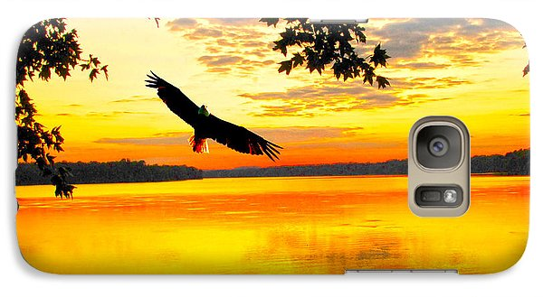 Galaxy Case featuring the photograph Eagle At Sunset by Randall Branham