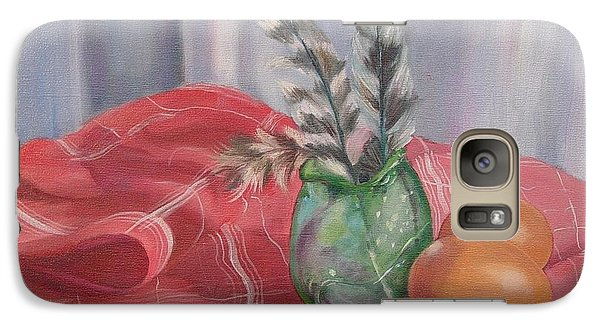 Galaxy Case featuring the painting Eggs Feathers And Glass by Carol Berning